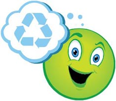 green recycling smiley face
